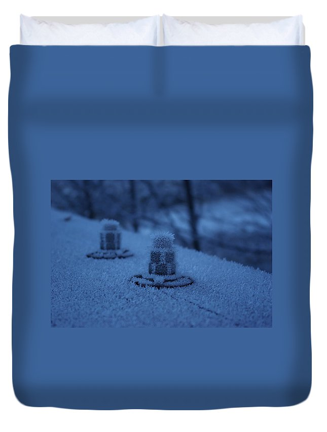 Ice Duvet Cover featuring the photograph Ice Bolts by Cindy Johnston