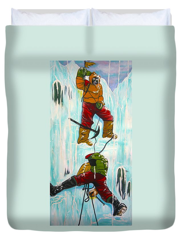 Abstract Sports Duvet Cover featuring the painting Ice Climbers by V Boge