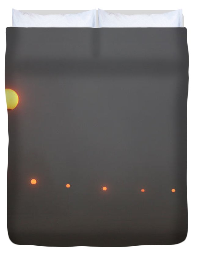 Ice Fog Park Lamps Misty Cold Weather Eerie Duvet Cover featuring the photograph Ice Fog And Park Lamps by Andrea Lawrence