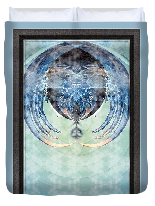 Ice Duvet Cover featuring the photograph Ice Layered Effect And Framed by Karl Rose