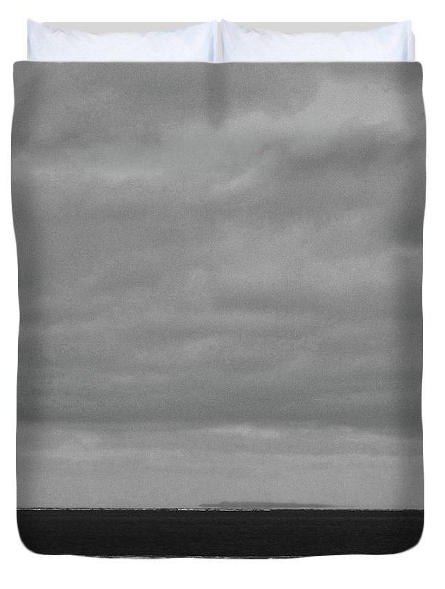 Black And White Duvet Cover featuring the photograph Ice On The Shore Of Georgian Bay by Lyle Crump