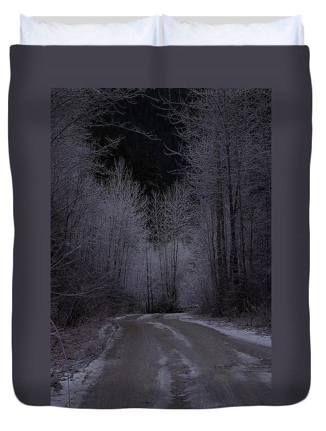 Ice Duvet Cover featuring the photograph Ice Road by Cindy Johnston