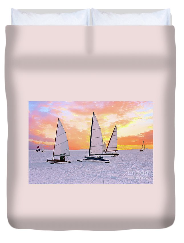 Ice Sailing Duvet Cover featuring the photograph Ice Sailing On The Gouwzee In The Countryside From The Netherlan by Nisangha Ji