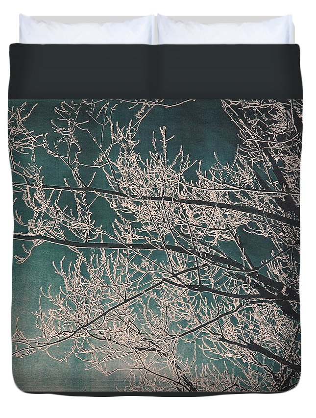 Branches Duvet Cover featuring the painting Ice Storm Branches - Blue by Michelle Miron-Rebbe