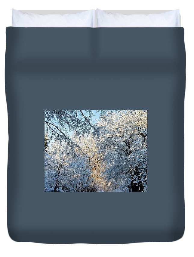 Ice On Trees Duvet Cover featuring the photograph Ice Storm On The 6th IIi by Jacqueline Russell