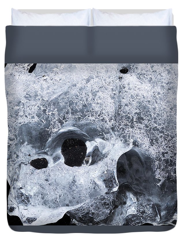 Austurland Duvet Cover featuring the photograph Iceberg On Jokulsarlon Iceberg Beach #07 by Dan Hartford