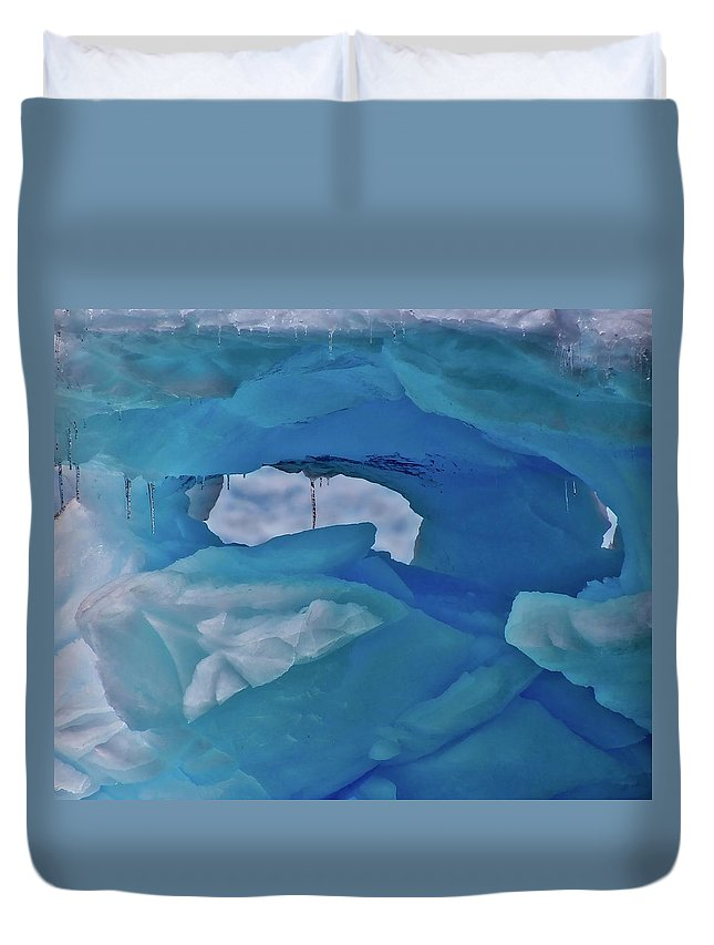 Surface Duvet Cover featuring the photograph Iceberg Window by James Kenning