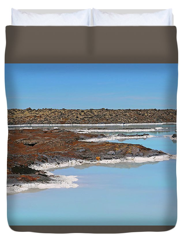 Iceland Duvet Cover featuring the photograph Iceland Blue Lagoon Lava Field by Betsy Knapp