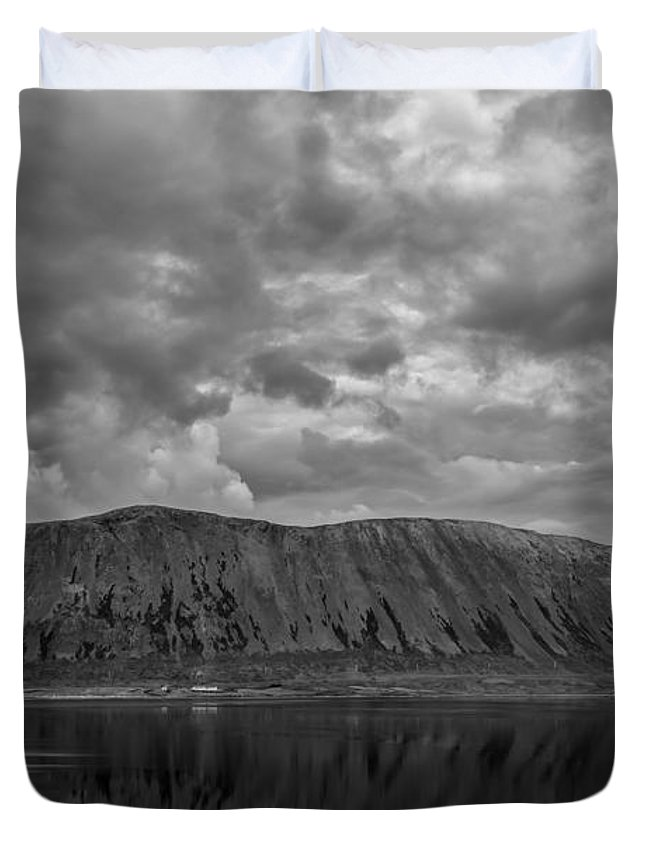Iceland Duvet Cover featuring the photograph Iceland Mountain Reflections Bw by Michael Ver Sprill