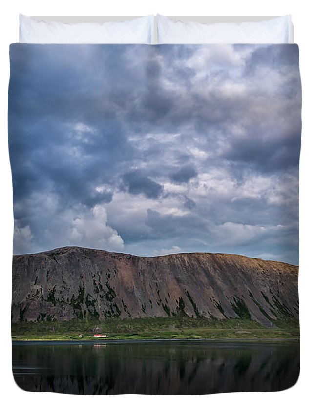 Iceland Duvet Cover featuring the photograph Iceland Mountain Reflections by Michael Ver Sprill