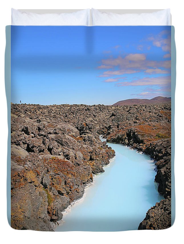 Iceland Duvet Cover featuring the photograph Iceland Tranquil Blue Lagoon by Betsy Knapp