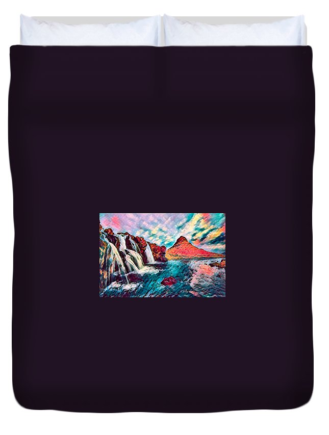 Abstract Duvet Cover featuring the photograph Iceland Waterfalls by Robert Kinser