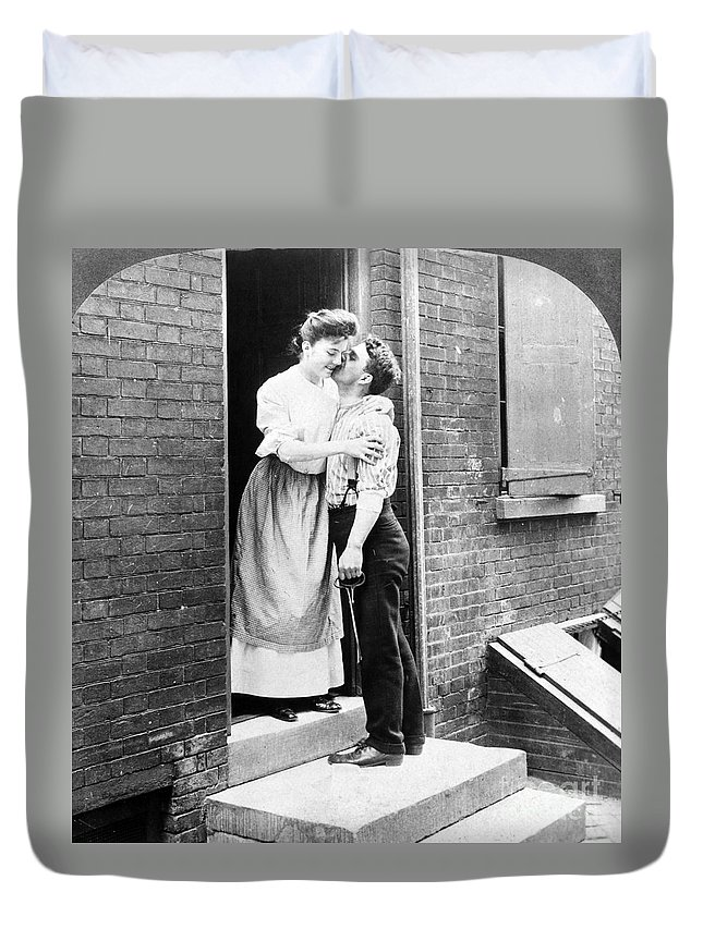 19th Century Duvet Cover featuring the photograph Iceman & Housewife by Granger