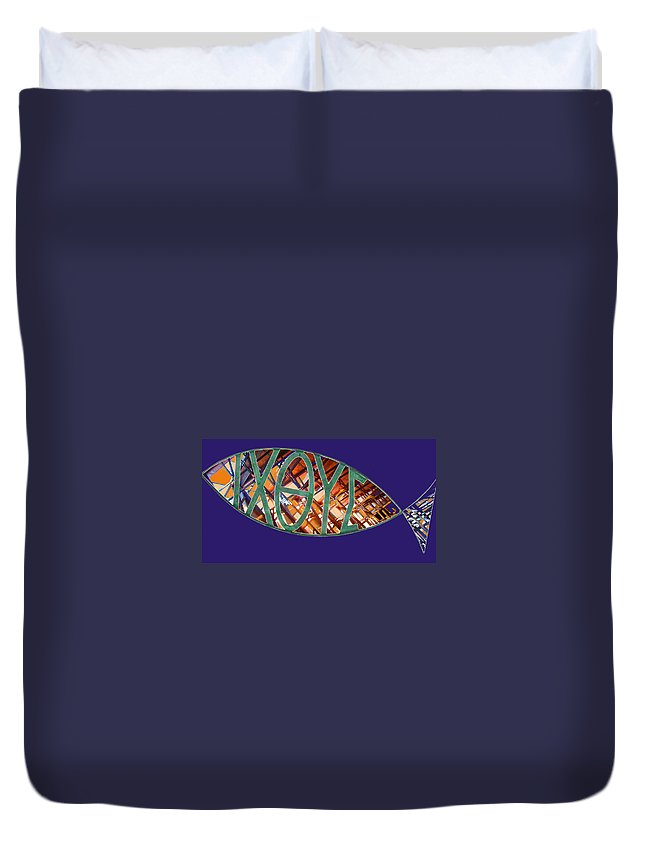 Fish Duvet Cover featuring the photograph Ichthys Fish by Anne Cameron Cutri