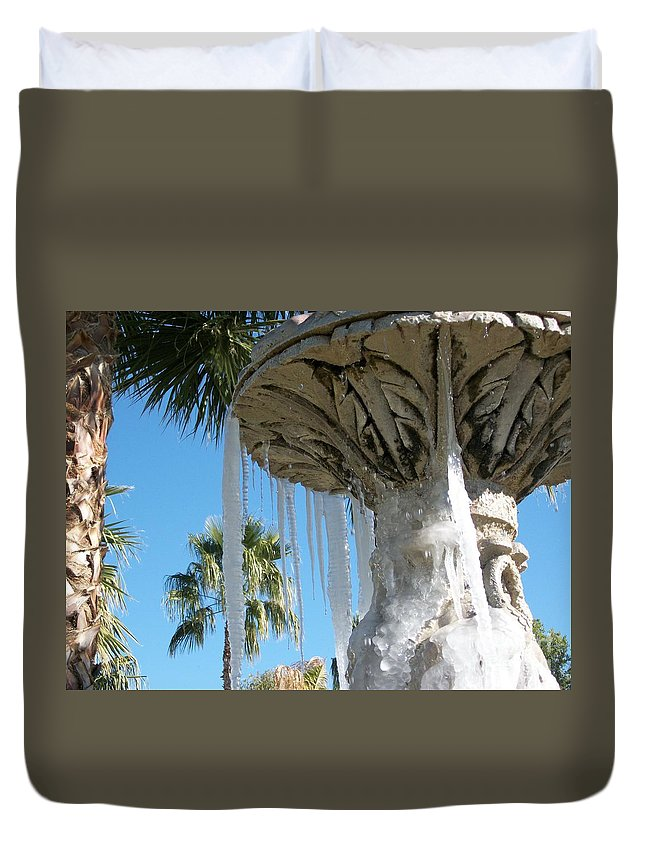 Color Photography By Heather J. Kirk And Photographic Artistry. Print On Photo Paper Duvet Cover featuring the photograph Icicles In A Palm Filled Sky Number 1 by Heather Kirk