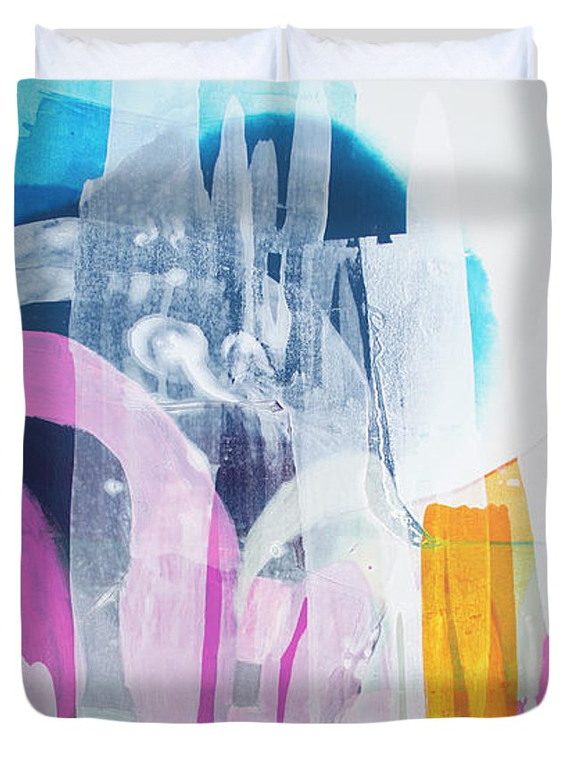 Abstract Duvet Cover featuring the painting Icing On The Cake by Claire Desjardins