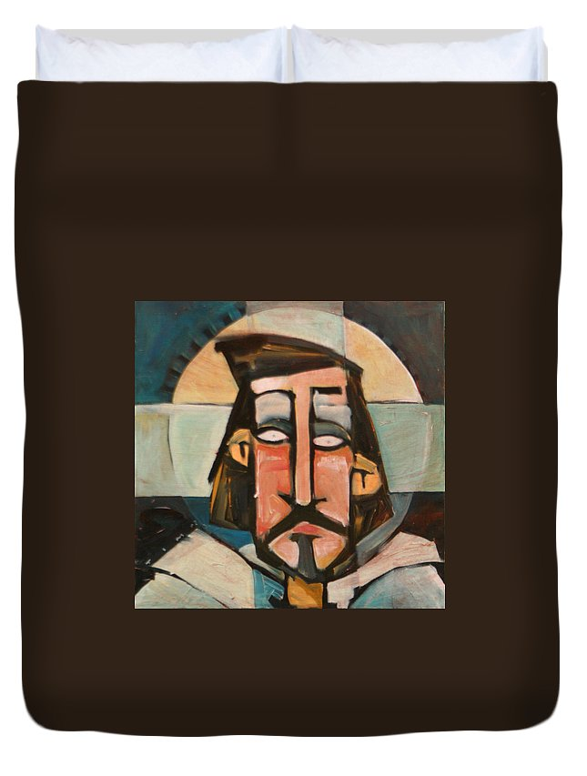 Christ Duvet Cover featuring the painting Icon Number 1 by Tim Nyberg