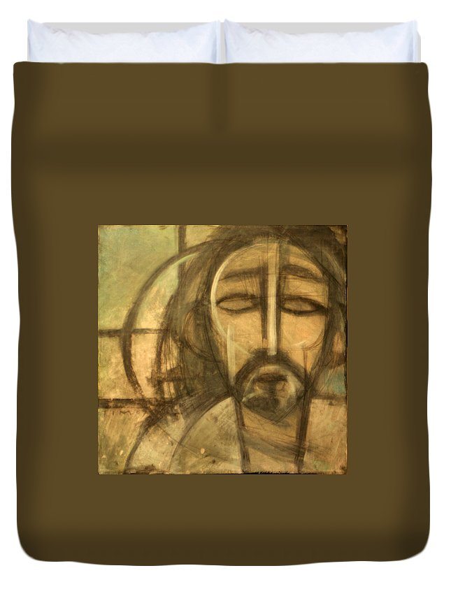 Christ Duvet Cover featuring the painting Icon Number 6 by Tim Nyberg