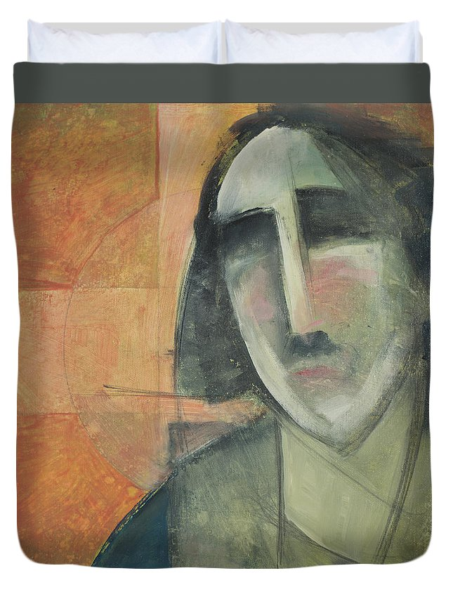 Christ Duvet Cover featuring the painting Icon Number Five by Tim Nyberg
