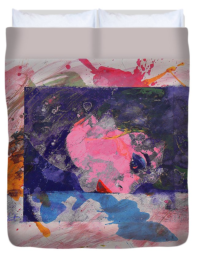 Psycho Duvet Cover featuring the painting Iconoclasm 4 by Charles Stuart