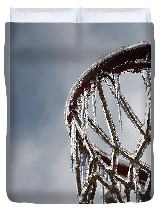 Basketball Duvet Cover featuring the photograph Icy Hoops by Nadine Rippelmeyer