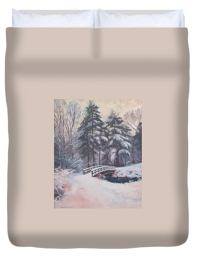 Landscape Duvet Cover featuring the painting Icy Stream by Dianne Panarelli Miller