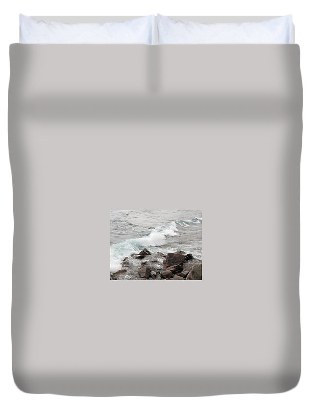 Wave Duvet Cover featuring the photograph Icy Waves by Kelly Mezzapelle