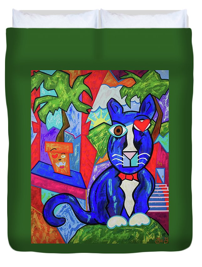 Cat Duvet Cover featuring the painting IDK by Joe Gallagher