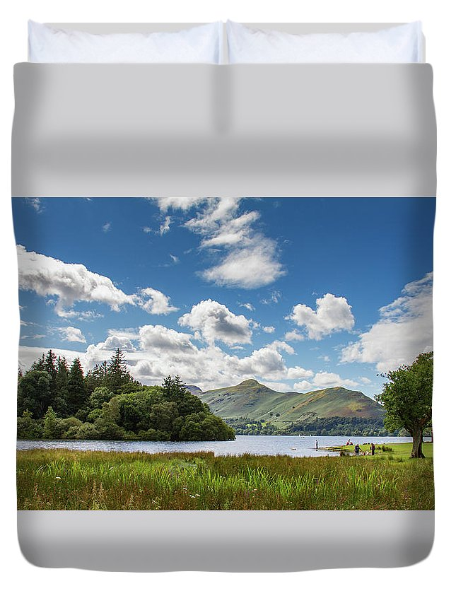 Cumbria Lake District Duvet Cover featuring the photograph Idyllic Scene Around Lake Derwent Water by Iordanis Pallikaras