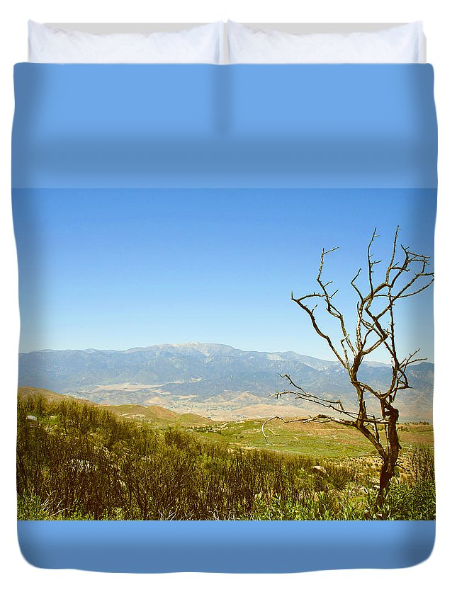 Landscape Duvet Cover featuring the photograph Idyllwild Mountain View With Dead Tree by Ben and Raisa Gertsberg