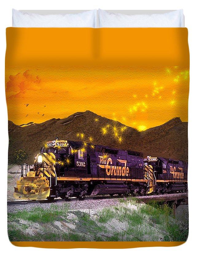 Trains Duvet Cover featuring the digital art If I Had A Magic Wand by J Griff Griffin