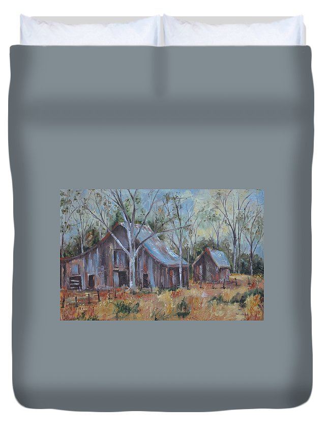 Barns Duvet Cover featuring the painting If They Could Speak by Ginger Concepcion