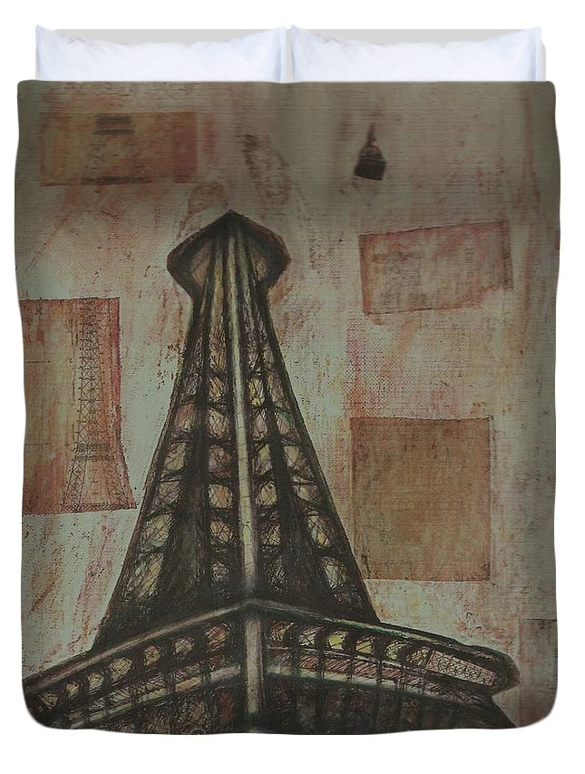 Structures Duvet Cover featuring the painting Iffel Tower by Sidra Myers