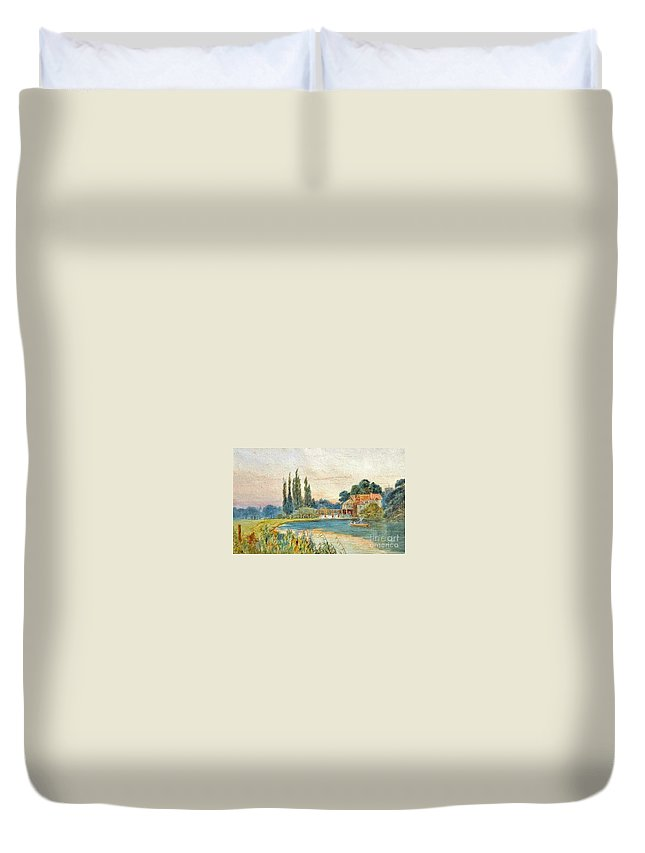 Alfred Vickers (attr) - Iffley Mill On The River Thames Duvet Cover featuring the painting Iffley Mill On The River Thames by MotionAge Designs