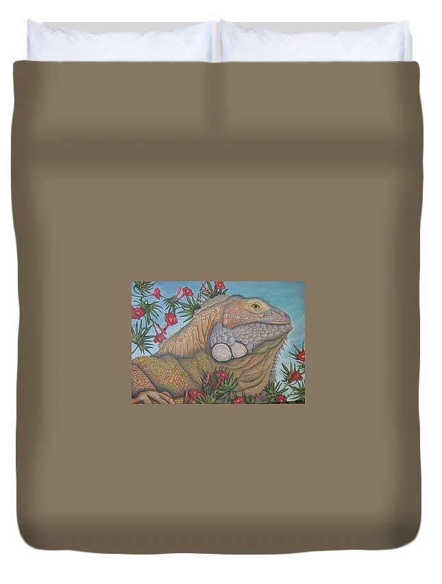 Lizard Duvet Cover featuring the painting Iguana Iguana by Jeniffer Stapher-Thomas