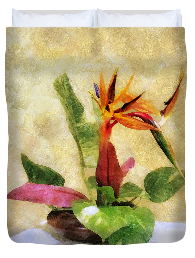 Ikebana Duvet Cover featuring the digital art Ikebana Bird Of Paradise by Francesa Miller
