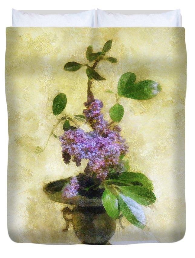 Lilacs Duvet Cover featuring the digital art Ikebana Lilacs by Francesa Miller