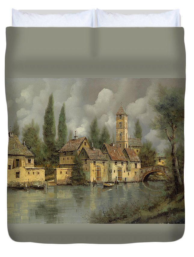 River Duvet Cover featuring the painting Il Borgo Sul Fiume by Guido Borelli
