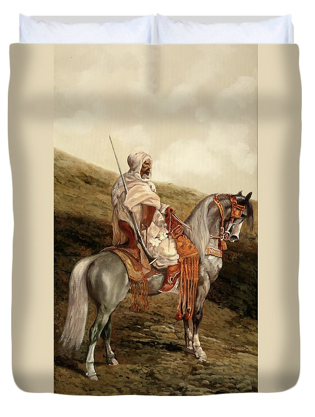 Knight Duvet Cover featuring the painting Il Cavaliere by Guido Borelli