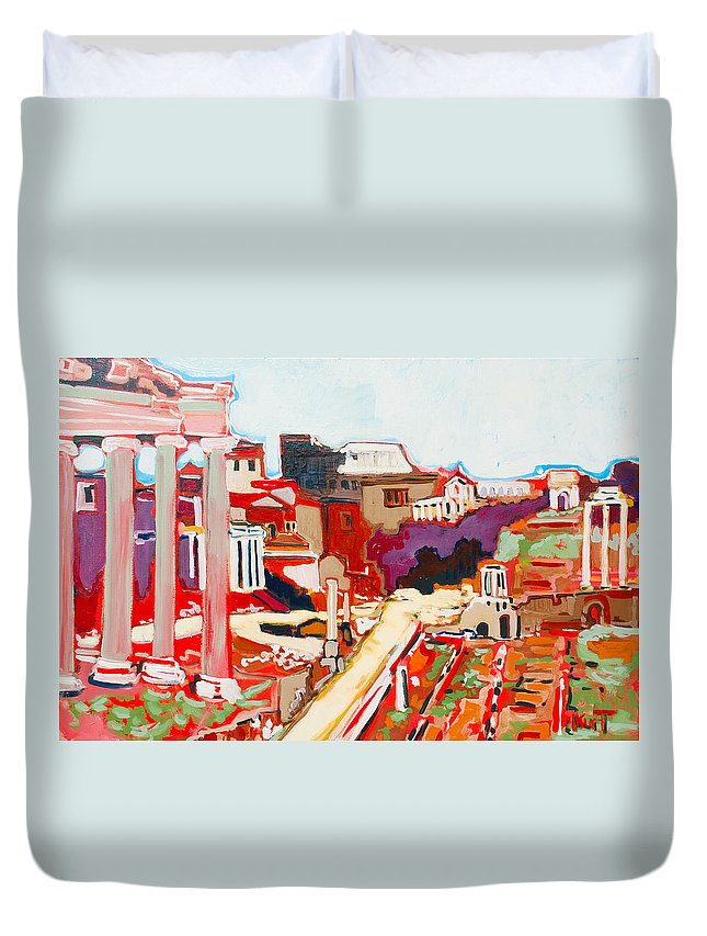 Rome Duvet Cover featuring the painting Il Foro Romano by Kurt Hausmann