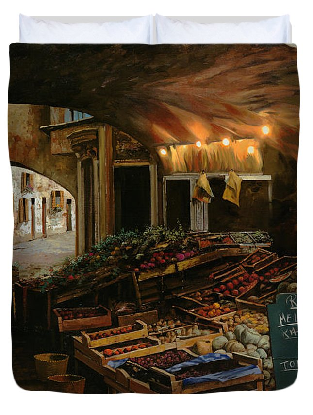 Market Duvet Cover featuring the painting Il Mercato Francese by Guido Borelli