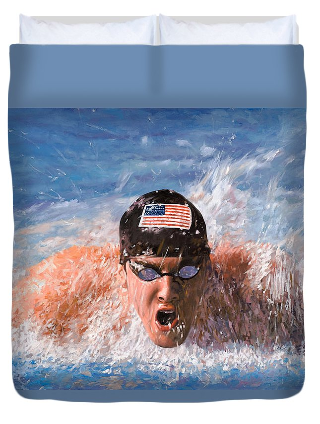 Swim Duvet Cover featuring the painting Il Nuotatore by Guido Borelli