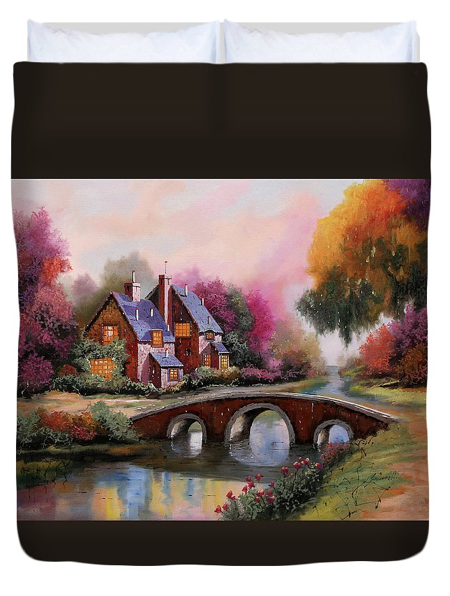 Rainbow Duvet Cover featuring the painting Il Ponticello A Colori by Guido Borelli