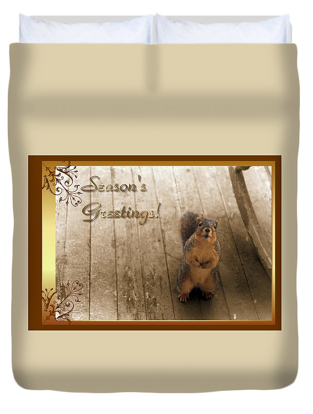 Card Duvet Cover featuring the photograph I'll Be Home For Christmas by Theresa Campbell