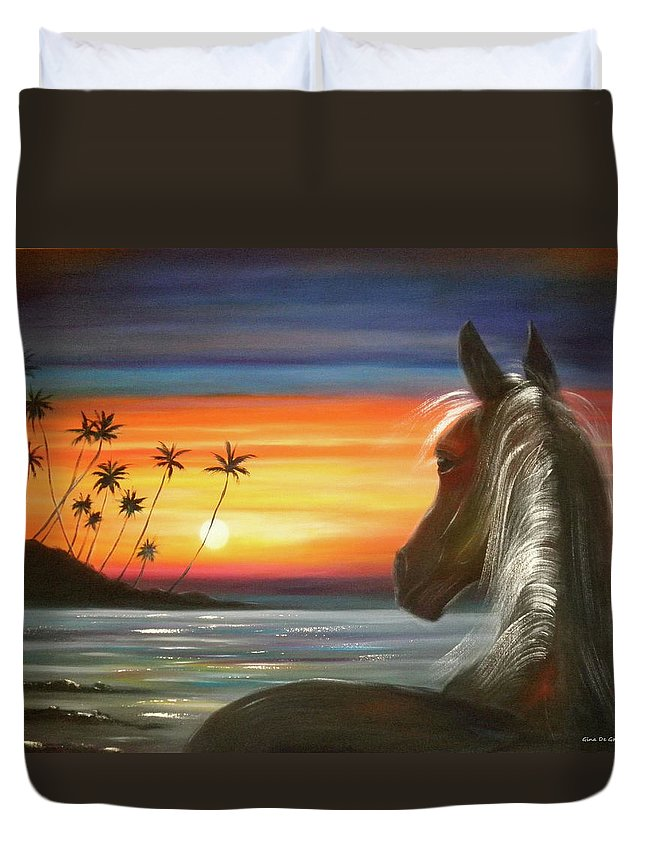 Art Duvet Cover featuring the painting I'll Be There by Gina De Gorna
