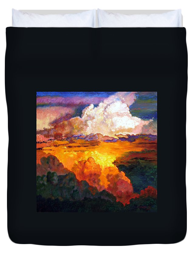 Clouds Duvet Cover featuring the painting Ill Fly Away O Glory by John Lautermilch