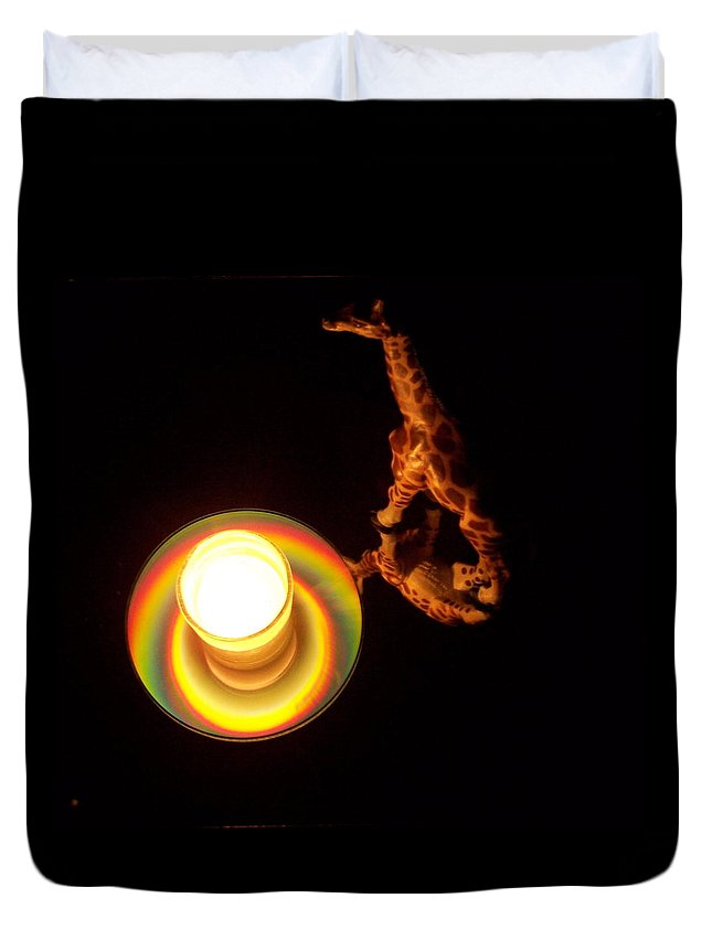 Giraffe Duvet Cover featuring the photograph Illuminated Objects by Michelle Miron-Rebbe