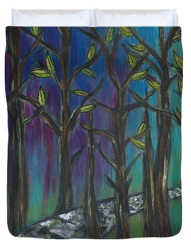 Path Duvet Cover featuring the painting Illuminated Path by Kristen Fagan