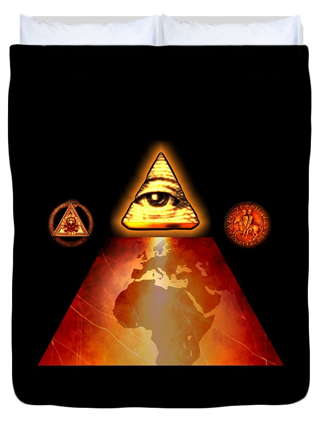 Fantasy Duvet Cover featuring the painting Illuminati World By Pierre Blanchard by Esoterica Art Agency