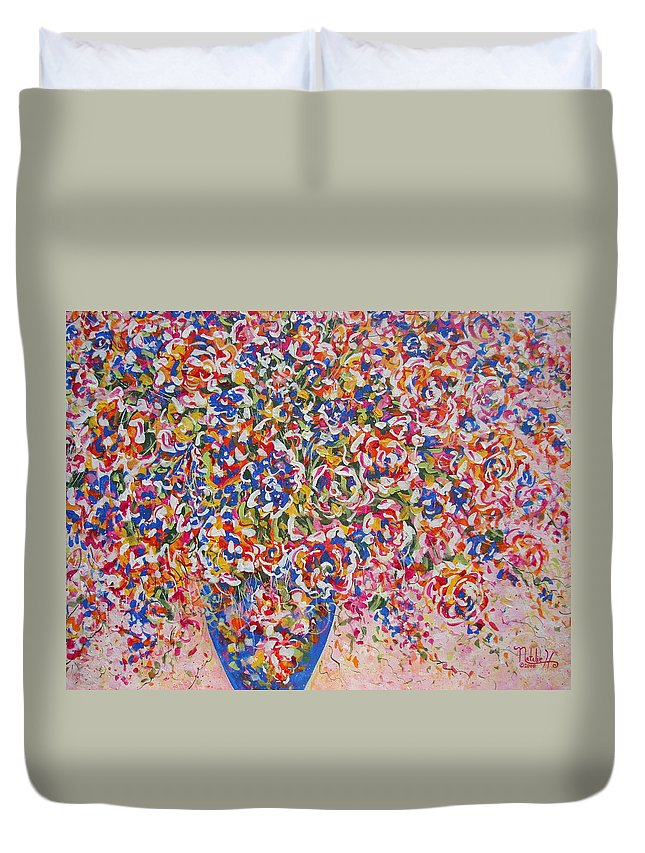 Flowers Duvet Cover featuring the painting Illumination by Natalie Holland